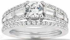 2.4 carat Engagement Round Diamond ring & Band Bridal Set 14K Gold 100% Natural