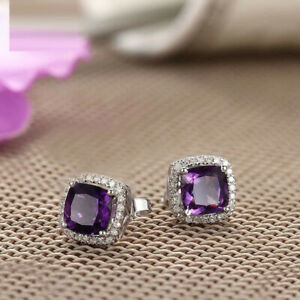 4Ct Cushion Cut Amethyst Diamond Halo Stud Earrings Solid 14K White Gold Finish