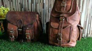 Two Bag Women Real Vintage Leather Backpack Satchel Rucksack Shoulder Messenger