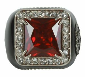 Gucci Sterling Silver Signet style ring in ruby red Size 17