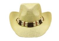 Cream BEIGE COWBOY Paper Straw HAT Beads Cowboy Cowgirl Men or Women Lightweight