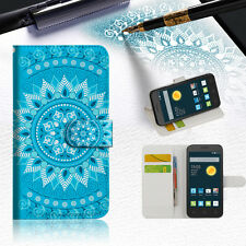 BLUE AZTEC TRIBAL TPU Wallet Case Cover For Optus X Smart 4G -- A001