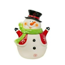 "Ceramic 11"" Cookie Jar Christmas Snowman Cute White Kitchen Storage Tub Ornament"