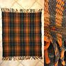 American Woolen Co Vtg Brown Orange Green Plaid Tasseled Edge Throw Blanket