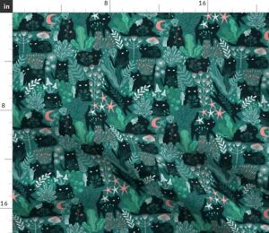 Forest Green Kitty Cats Summer Spring Cute Kitten Spoonflower Fabric by the Yard
