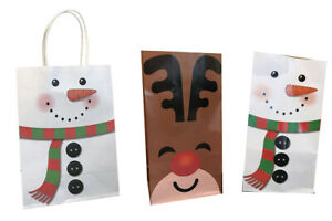 Christmas Party Gift Bag Snowman Xmas Kids Children Sweet Candy Paper Loot Bag
