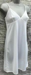 White Full Slip Nightie Chemise Adjustable Straps BHS UK 8 12 16 20 24