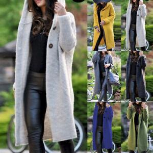 Womens Long Cardigan Knitted Jacket Hooded Sweater Coat Overcoat Jumper Outwear
