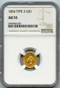 1854 G$1 Indian Princess Type 2 Gold Dollar Coin NGC AU 55