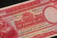 Hong Kong and Shangai Banking corporation 1947 $100 D028,741
