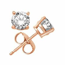 Solid Sterling Silver Basket Set CZ Stud Earrings ROUND CUBIC ZERCONIA 3 COLORS