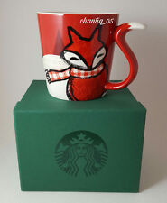 Starbucks 2016 Holiday RED FOX TAIL Mug 12oz New in Green Gift Box