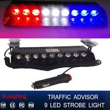 9 LED Emergency Warning Hazard Dash Board Flash Strobe Light 12V Red White Blue