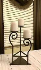 Beautiful Romantic Black Iron Wrought Tabletop 3 Candle Holder