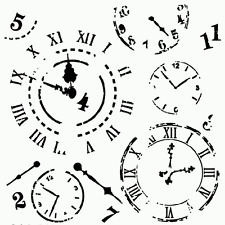 """CLOCK STENCIL CLOCKS TEMPLATE TIME BACKGROUND CRAFT PAINT ART BY TCW 12"""" X 12"""""""