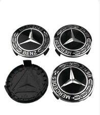 4 Caches Moyeu Mercedes 75 mm noir Logo embleme Jante Centre De Roue