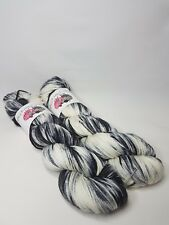 Hand dyed Merino Nylon yarn, DK weight, 100g, MR MONO, Black, white, grey