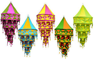 Indian Decorative Lamp Shade Of Cotton Fabric Lanterns Collapsible Wholesale Lot
