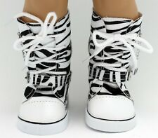 18 inch Girl Doll Clothes Shoes Zebra Sneaker Boots Chain Hi-top American seller