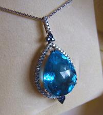 HUGE Exquisite Solid 14K Gold Blue Topaz Pendant & Chain 50 Diamonds 6 Sapphires