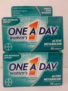 2 ONE A DAY WOMEN'S MULTIVITAMIN ACTIVE METABOLISM 50 TABS EACH EXP 1/21 TT 3000