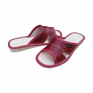 Women's Slip On Slippers Ladies Soft Natural Leather Mules Size 3-8 Sandals Flat