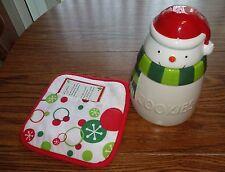 Hallmark Snowman Cookie Jar with Potholder & Recipe Cards – Brand New