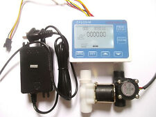 "G1/2"" Water Flow Control LCD Display+Flow Sensor Solenoid valve Power Adapter"