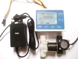 "G1/2"" Water Flow Control LCD Display+Flow Sensor Solenoid valve Power Adapter"