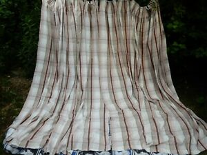 LAURA ASHLEY HOME VINTAGE HIGHLAND CHECK CURTAINS - BEIGE - CHECKED - LONG