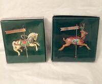 Set Of 2 Vintage Enesco Christmas Carousel Ornaments- Horse & Reindeer