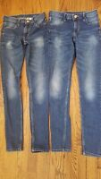 H&M & Denim Skinny Fit 2 PAIRS!! Blue jeans Low Waist Juniors  Size 12-13yrs