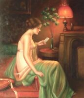 """24""""x20"""" Oil Painting on Canvas, Lady Reading a Letter, Genuine Hand Painted"""