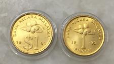 (JC) 2 pcs RM1 2nd Series Malaysia Bunga Raya coin 1993 ( 2 variety) -  UNC/BU