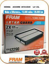Fram CA12290 EXTRA GUARD Engine Air Filter Fit HONDA ACCORD 2018-2020 L4 1.5L