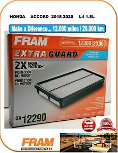 Fram CA12290 EXTRA GUARD Engine Air Filter Fit HONDA ACCORD 2018-2020 L4 1.5L