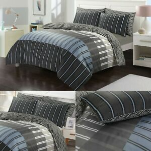 Duvet Cover Set Grey Stripe Egyptian Bedding Quilt Double King All Size Bed Sets