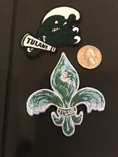 (2) Tulane Green Wave Vintage Embroidered Iron On Patches 2.5� X 2� & 3� X 2.75�