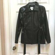 East 5th Black Leather Jacket size Small Zip up fully Lined Women's