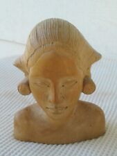 """Hand Carved Bust Of Indonesian Lady Size 4""""T×3.5""""W In Beautiful Condition Check"""