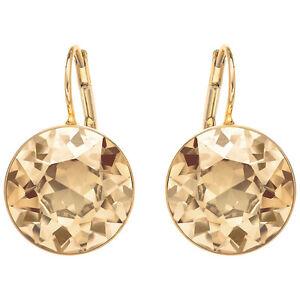 Swarovski Bella Pierced Earrings Gold Shine 901640 Authentic Brand Nib