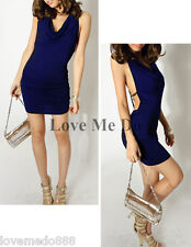 Sexy womens party DEEP V neck HALTER BACKLESS CROSS chain mini Dress BLUE S 4 6