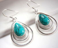 Turquoise Earrings Double Hoop Teardrop 925 Sterling Silver Dangle Drop New
