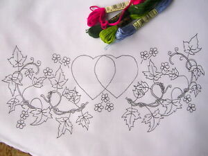 Ready to embroider pillow cases with hearts & flowers CSOO16
