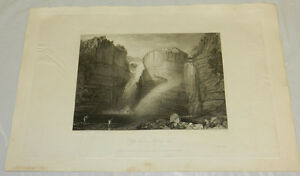 1822 Antique Print/HIGH FORCE or FALL OF TEES/FISHING/NORTH YORKSHIRE, ENGLAND