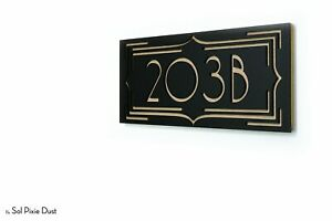 Modern House Numbers, Art Deco Black Acrylic with Natural Wood Backing, Sign