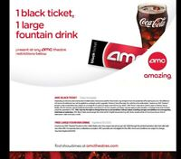 AMC Theaters 1 Black Ticket 1 Large Drink - Exp 6/30/2020 - Email Delivery