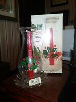 Indiana Glass Holly Christmas Hurricane Globe Candleholder SET MADE IN USA
