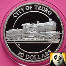 1996 turks & caicos 20 dollars city of truro patrimoine ferroviaire silver proof coin