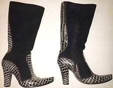 WOMEN'S SIZE 8 (38), BLACK & WHITE, SUADE/PATTEN LEATHER BOOTS BY CASADEI!